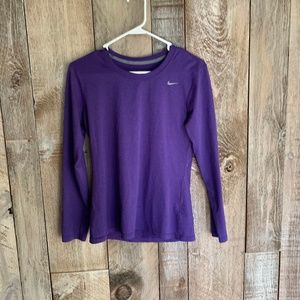 Royal Purple Long Sleeved Nike Dri-Fit Tshirt